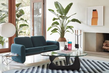 living room with chiclet sofa