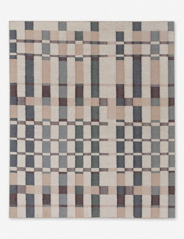 checked and striped rug