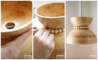 ikea Wooden Bowl Light Fixture tiktok hack