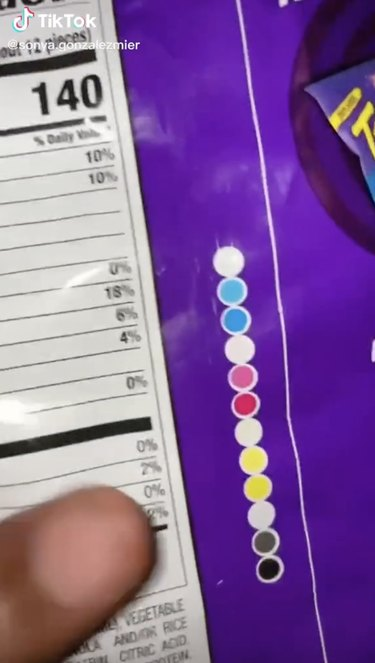 color control patches on takis bag