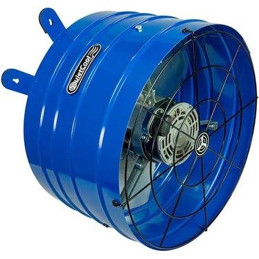 A blue QuietCool attic fan