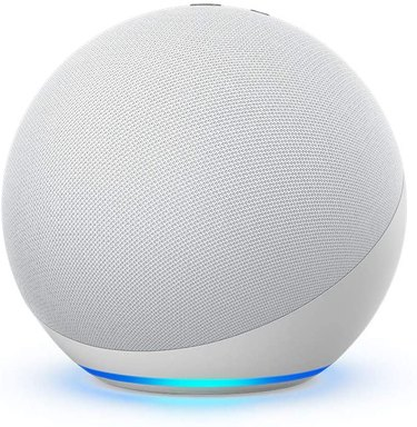 white round Amazon Echo smart device