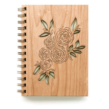 wood spiral bound journal with floral design