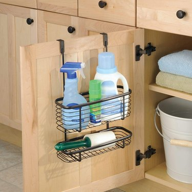 tiered metal over the cabinet door organizer