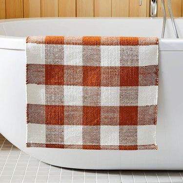 plaid bath mat
