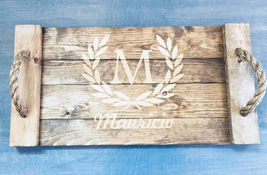 customized wood tray with rope handles