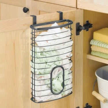over the cabinet door plastic bag holder