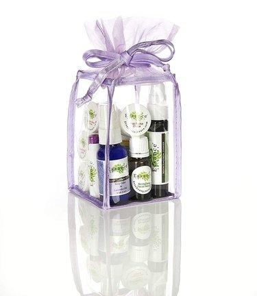 lavender skincare kit in clear bag