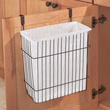 over the cabinet door metal waste bin holder