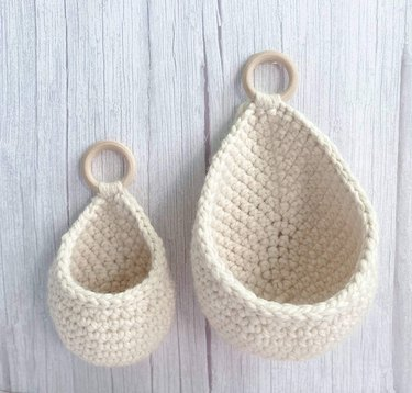 small and large crochet hanging baskets