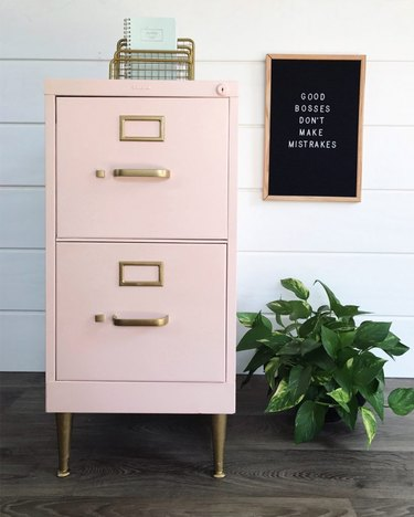 pink chalk paint file cabinet with white shiplap wall and letterboard
