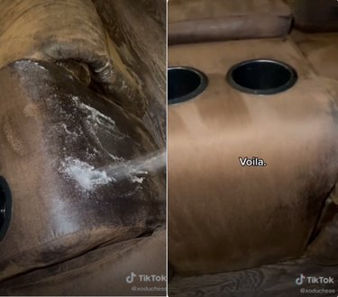 two screenshots of a tiktok video showing a dirty couch with cleaner and then a cleaner couch surface