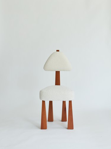 dining chair in bouclé and wood