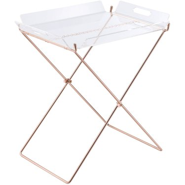 copper folding table with removable acrylic tray