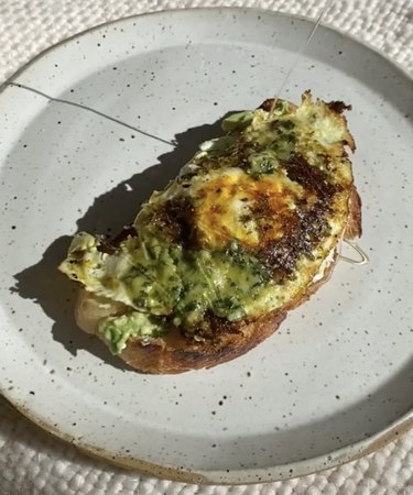 pesto egg on toast with honey