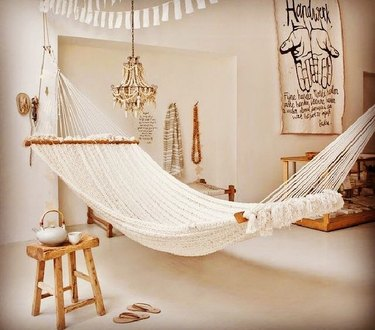 white and natural hammock decor
