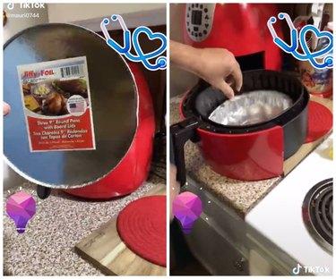 aluminum container air fryer hack