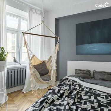 bedroom corner hammock seating