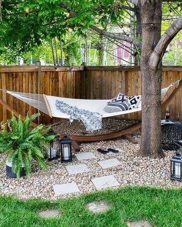 corner hammock in yard