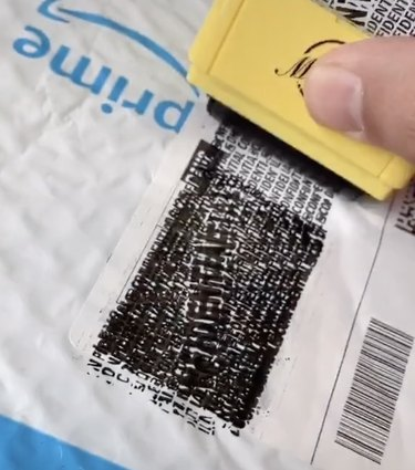 confidential stamp covering amazon prime address