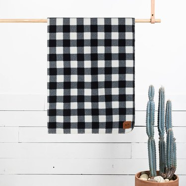 Plaid Blanket With Cactus