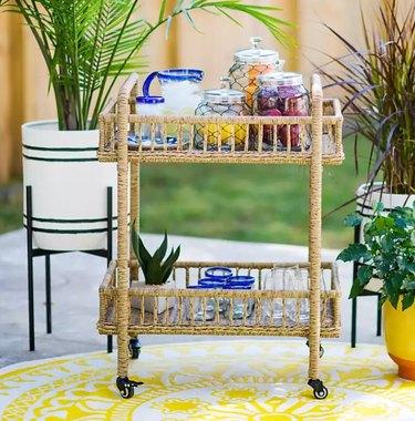 Kirkland's Tulum Natural Wicker Outdoor Bar Cart