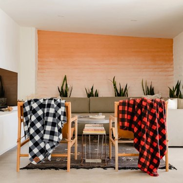 Plaid Blankets on Chairs
