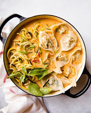 Healthy Nibbles Red Curry Wonton Soup With Zucchini Noodles