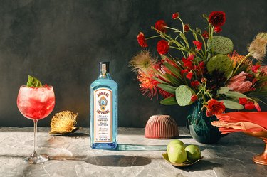 tablescape with Bombay Sapphire