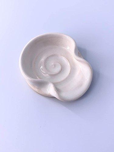 Mini Ceramic Spoon Rest in White