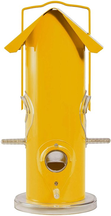 yellow metal tube bird feeder