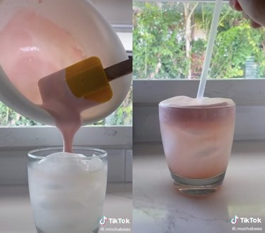 two screenshots of a tiktok video showing a pink whipped lemonade drink being made