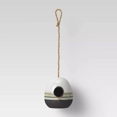 striped ceramic modern birdhouse