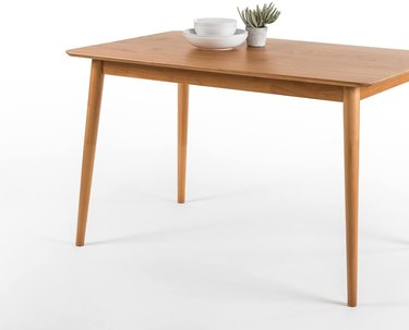 wooden rectangular kitchen table