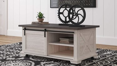 white wash wooden coffee table