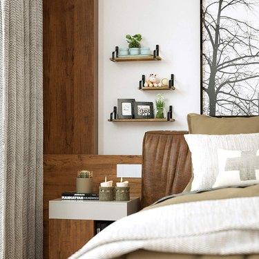 floating shelves in a bedroom