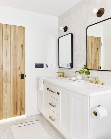 white bathroom with white zellige tiles