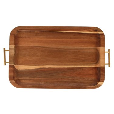 Better Homes & Gardens Acacia Wood Serving Tray with Gold Handles