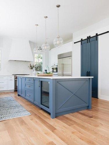 cornflower blue and white farmhouse kitchen