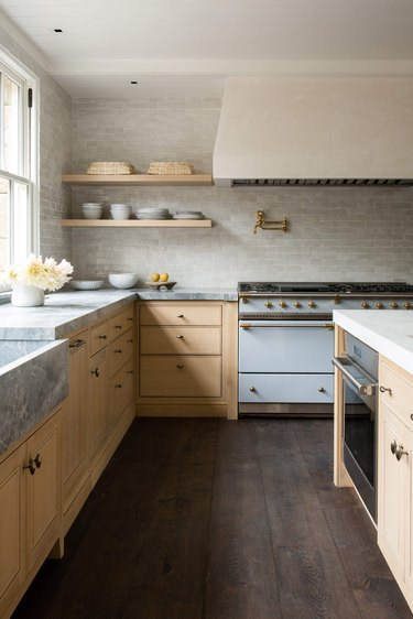 muted kitchen with robin's egg blue stove