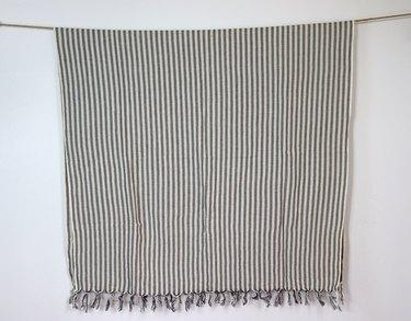 Turkish cotton throw blanket with fringe