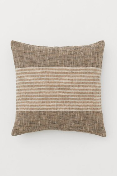 cushion with striped neutral handwoven cushion cover