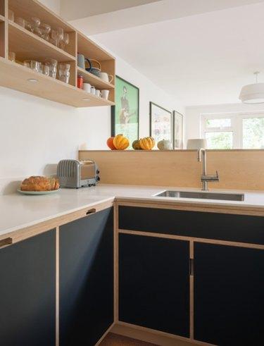 Minimalist kitchen with black cabinets, wood backsplash