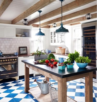 kitchen with blue and white checked flooring