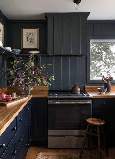 Kitchen with black cabinets and black shiplap backsplash.