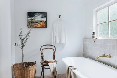 white bath with tub and gray zellige tiles