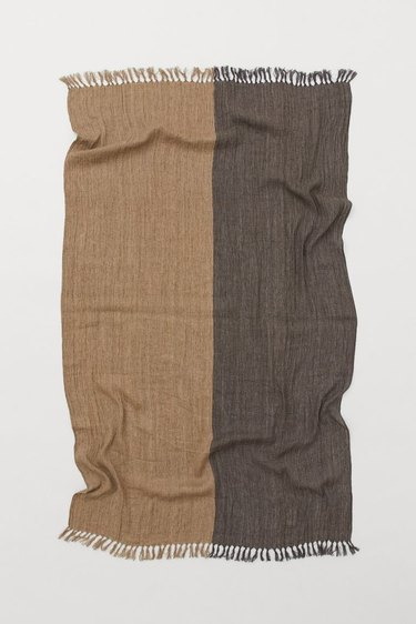 handwoven linen throw in two shades separated down the middle