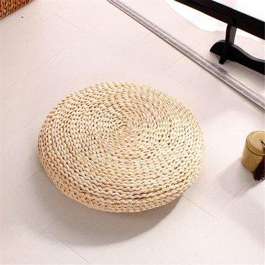 braided straw floor pillow