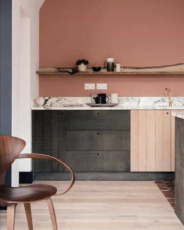 pink kitchen with dary gray cabinets