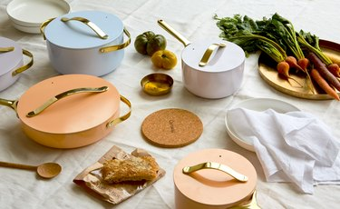 pastel cookware on table